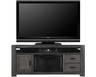 "Empire Gray 84"" TV Stand with Fireplace Insert"