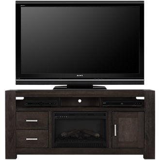 """Empire Dark Tone 72"""" TV Stand with Fireplace Insert"""