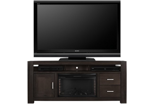 """Empire Dark Tone 84"""" TV Stand with Fireplace Insert"""
