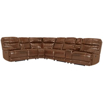 Liam Medium Brown Leather & Vinyl Large Two-Arm Power Reclining Sectional