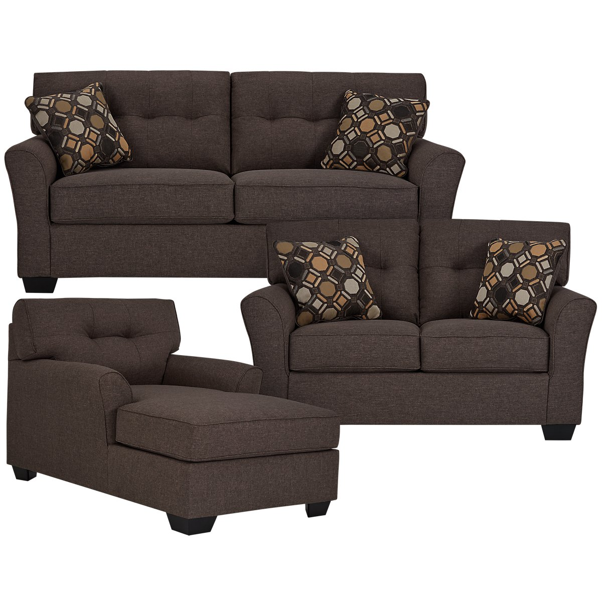 Laryn Dark Gray Microfiber Living Room