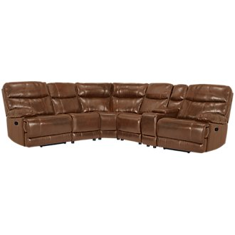 Liam Medium Brown Leather & Vinyl Small Two-Arm Manually Reclining Sectional