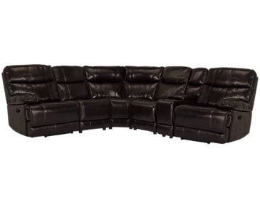 Liam Dark Brown Leather & Vinyl Small Two-Arm Manually Reclining Sectional
