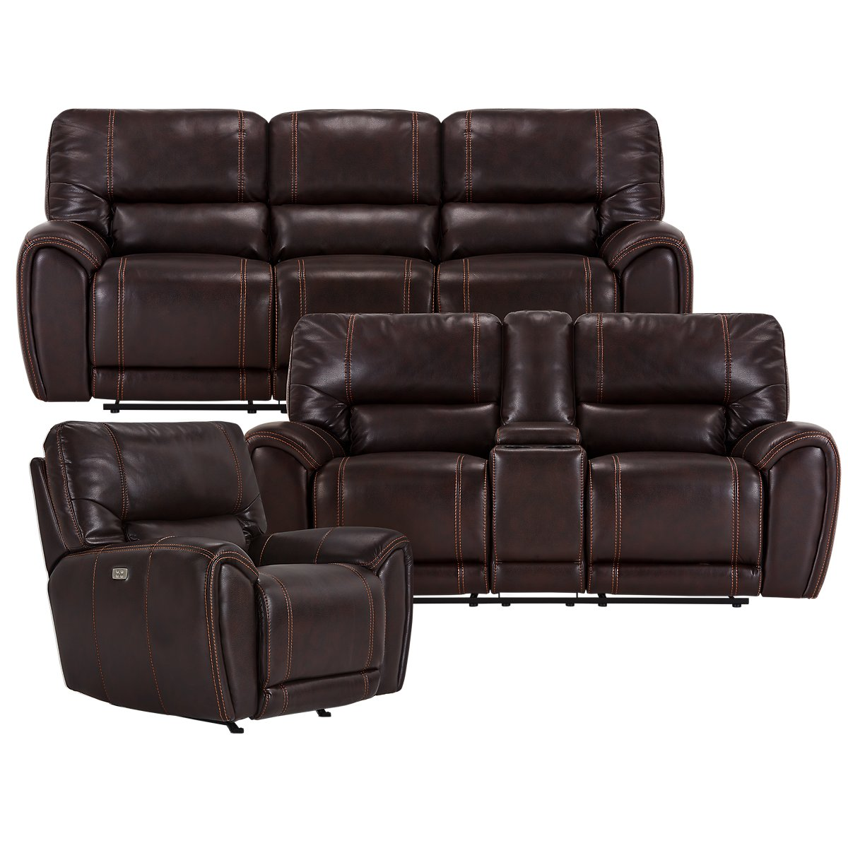 City Furniture Bailey Dark Brown Microfiber Power