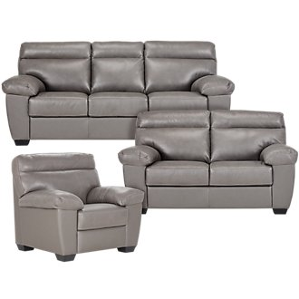 Devon Gray Leather Living Room