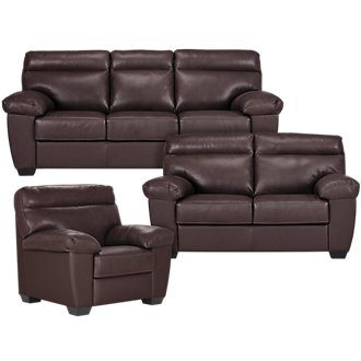 Devon Dark Brown Leather Living Room
