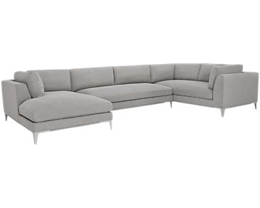 Madison Gray Fabric Large Left Chaise Sectional