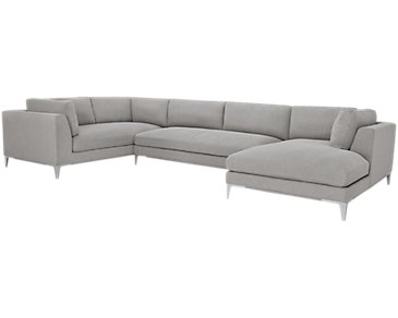 Madison Gray Fabric Large Right Chaise Sectional