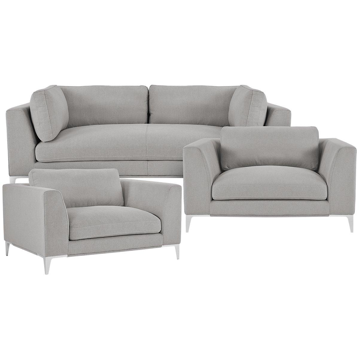 City Furniture: Madison Gray Fabric Living Room