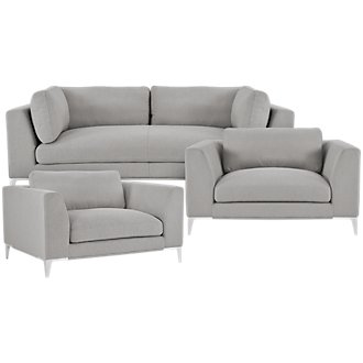 Madison Gray Fabric Living Room