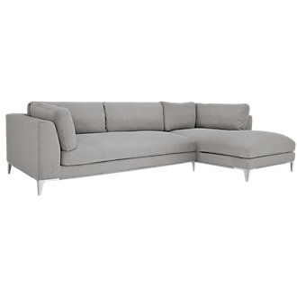 Madison Gray Fabric Small Right Chaise Sectional