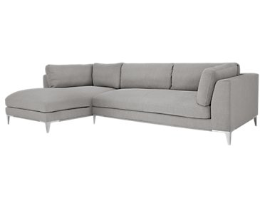 Madison Gray Fabric Small Left Chaise Sectional