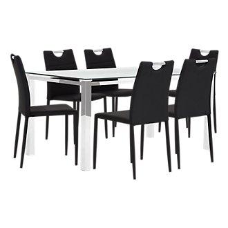 Skyline Black Rectangular Table & 4 Upholstered Chairs