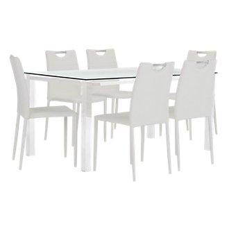 Skyline White Rectangular Table & 4 Upholstered Chairs