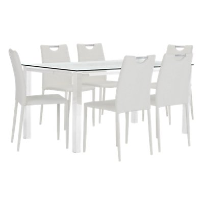 Skyline White Gl Table 4 Upholstered Chairs