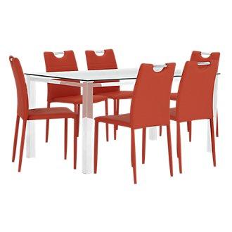 Skyline Orange Rectangular Table & 4 Upholstered Chairs