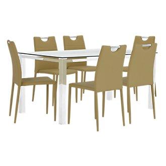 Skyline Light Green Rectangular Table & 4 Upholstered Chairs