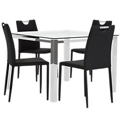 Skyline Black Square Table 4 Upholstered Chairs