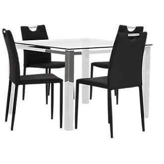 Skyline Black Square Table & 4 Upholstered Chairs