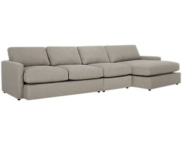 Noah Khaki Fabric Small Right Chaise Sectional