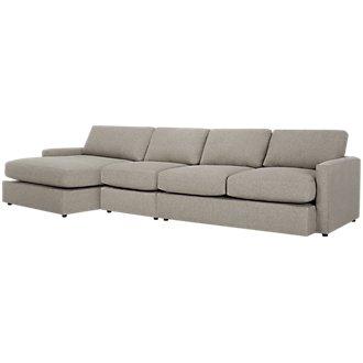 Noah Khaki Fabric Small Left Chaise Sectional