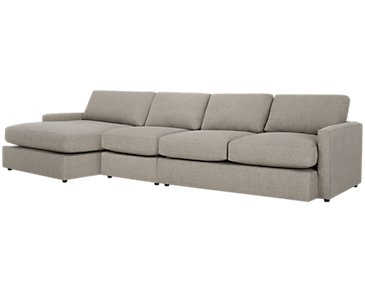 Noah Khaki Fabric Small Left Chaise Sectional