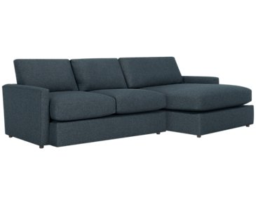 Noah Dark Blue Fabric Small Right Chaise Sectional