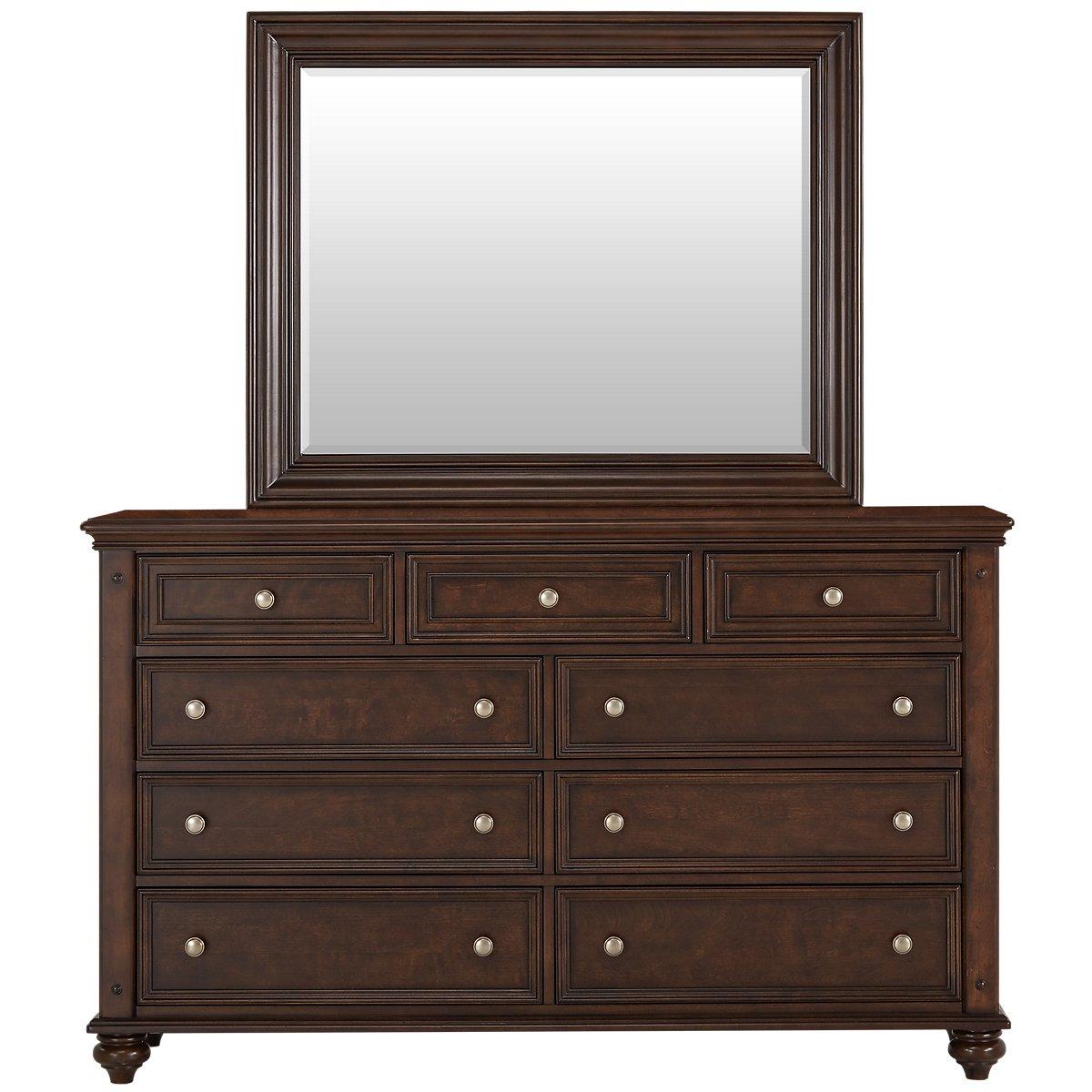 Savannah Dark Tone Wood Dresser & Mirror