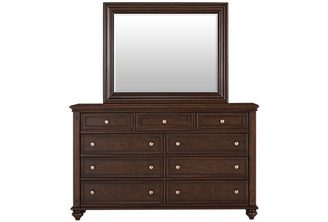 Savannah Dark Tone Wood Dresser & Mirror