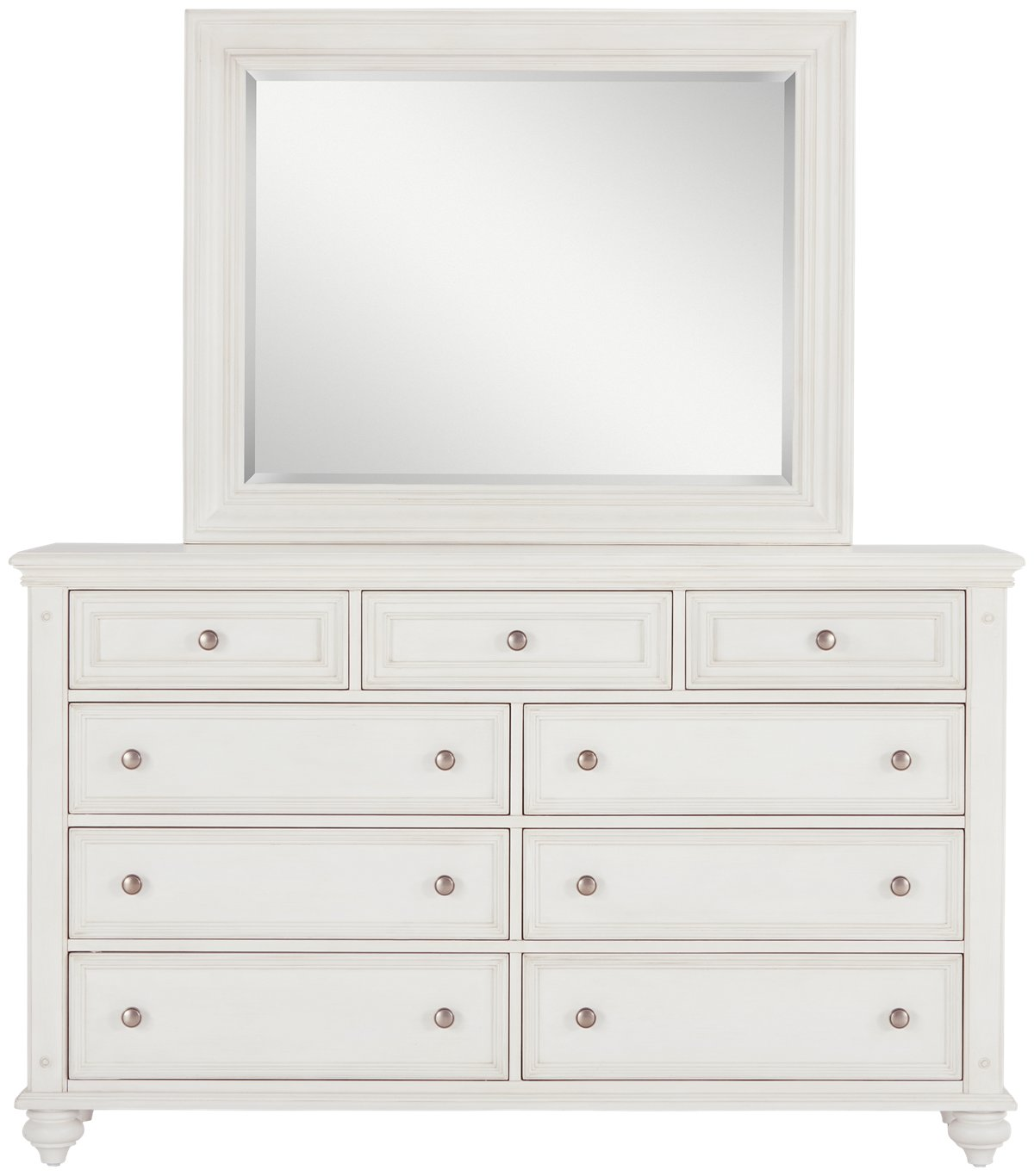 Savannah Ivory Wood Dresser & Mirror