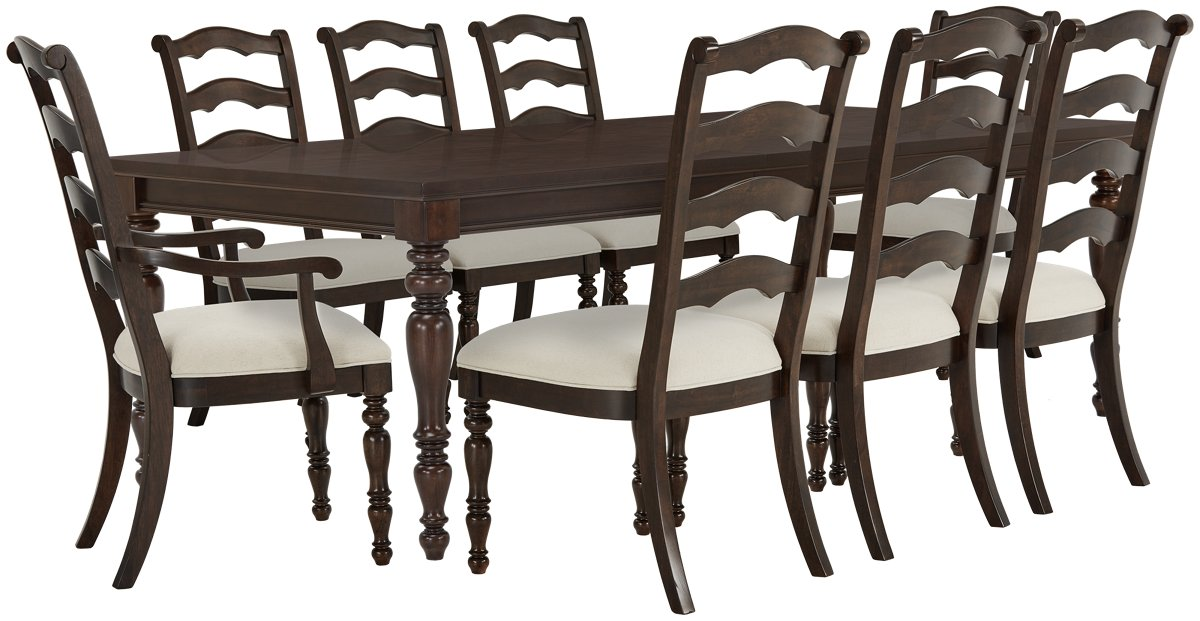 Savannah Dark Tone Wood Table & 4 Chairs