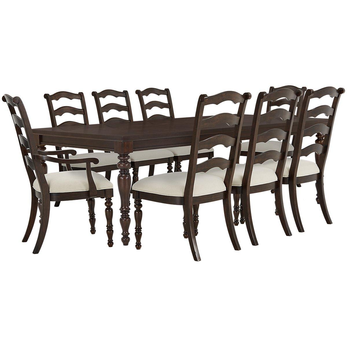 Savannah Dark Tone Wood Rect Table & 4 Chairs