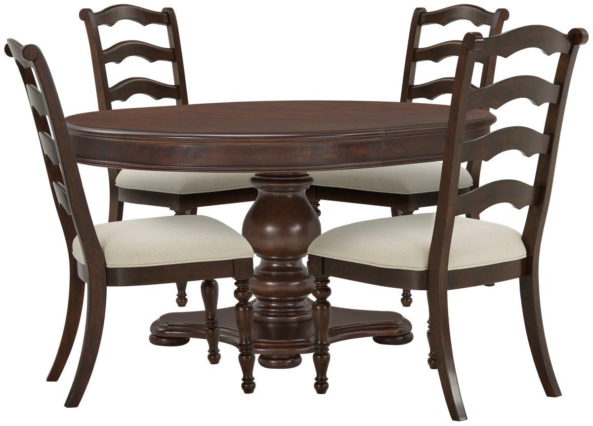 Savannah Dark Tone Wood Table & 4 Chairs