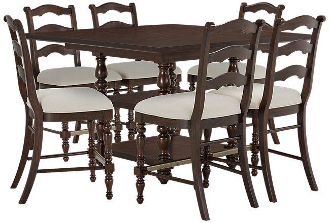 Savannah Dark Tone Wood High Table & 4 Barstools