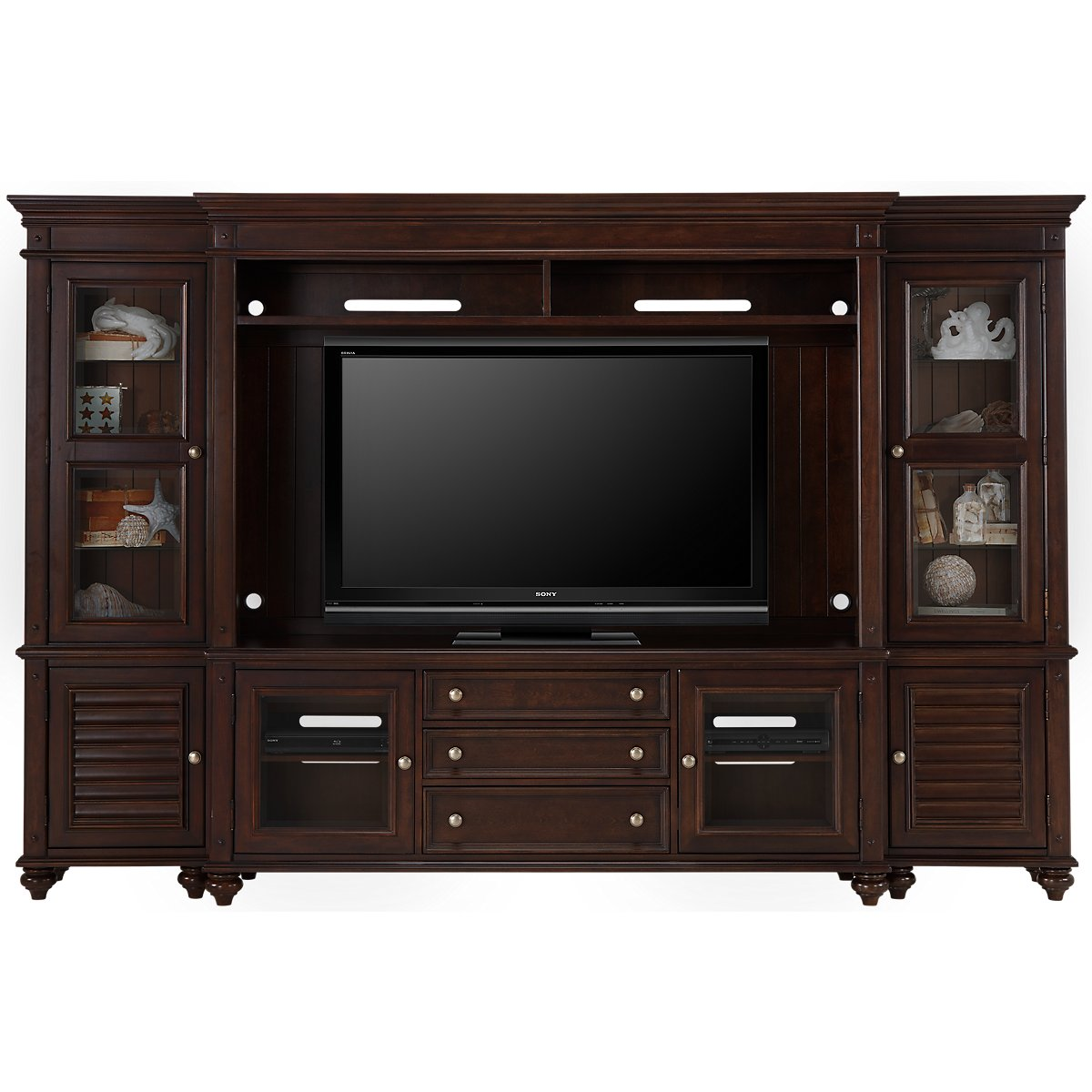 Savannah Dark Tone Wood Entertainment Wall