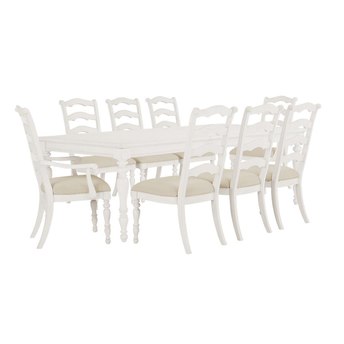 Savannah Ivory Wood Rect Table & 4 Chairs