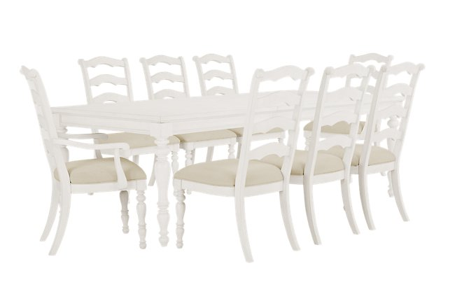 Savannah Ivory Wood Table & 4 Chairs