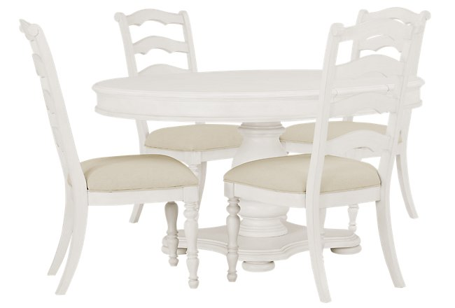 Savannah Ivory Wood Table & 4 Chairs