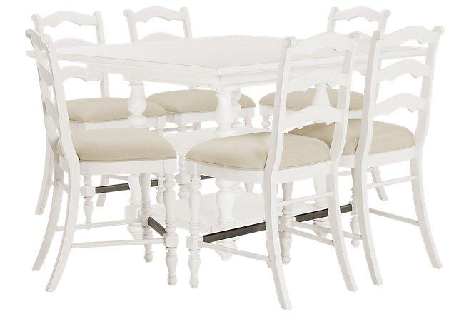 Savannah Ivory Wood High Table & 4 Barstools