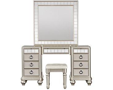 Farrah Champagne Vanity & Mirror
