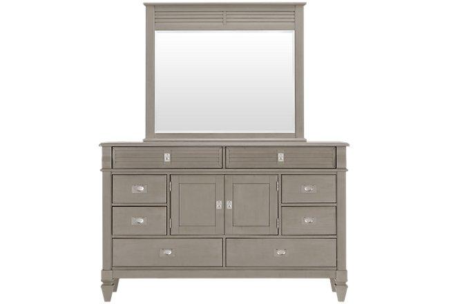 Marina Gray Wood Dresser & Mirror