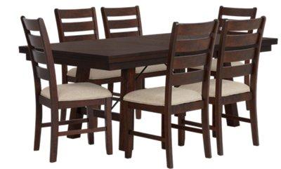 Jax Dark Tone Rectangular Table & 4 Wood Chairs