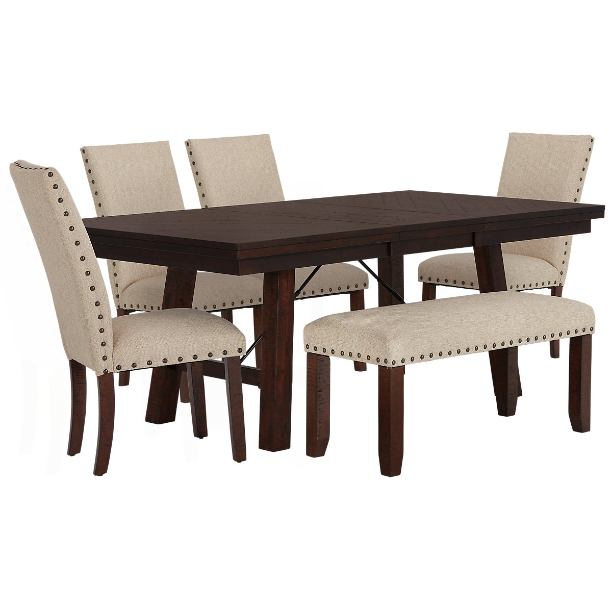 City Furniture Jax Beige Rectangular Table Chairs Bench - Rectangle table with 4 chairs