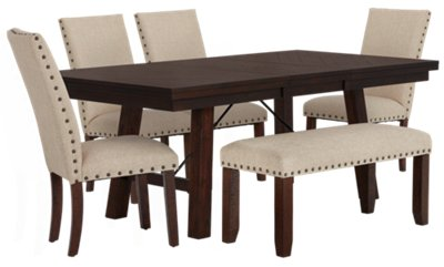 Jax Beige Rectangular Table, 4 Chairs U0026 Bench