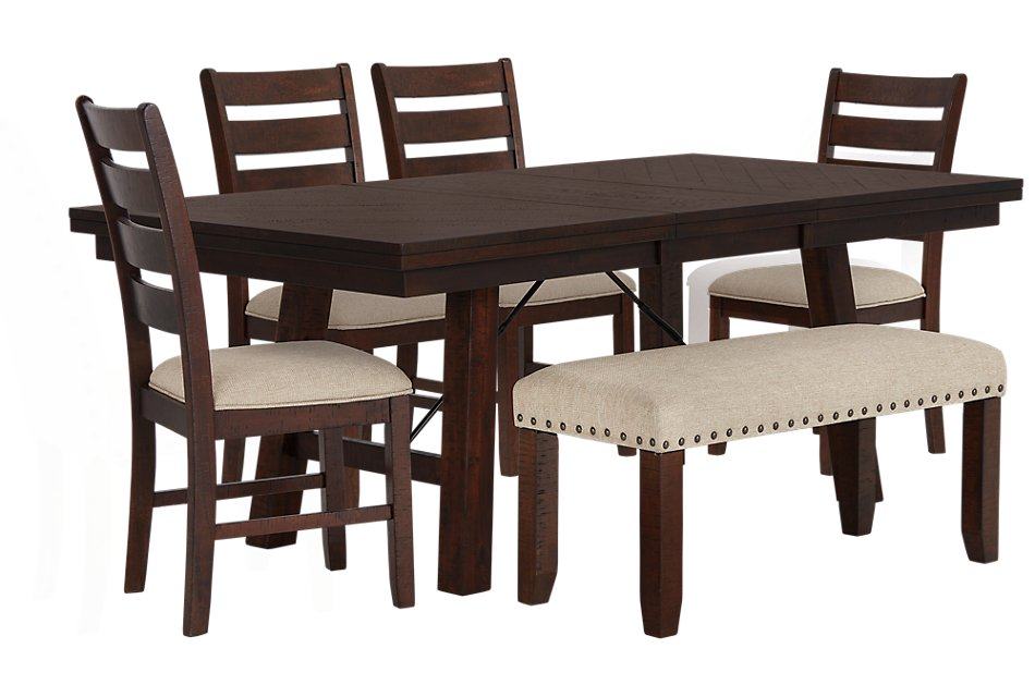 Stupendous Jax Dark Tone Rect Table 4 Chairs Bench Dining Room Bralicious Painted Fabric Chair Ideas Braliciousco