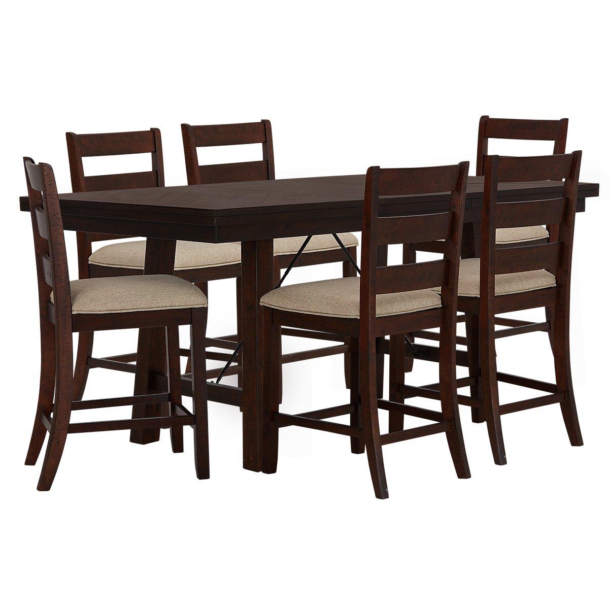 Jax Dark Tone High Table 4 Wood Barstools