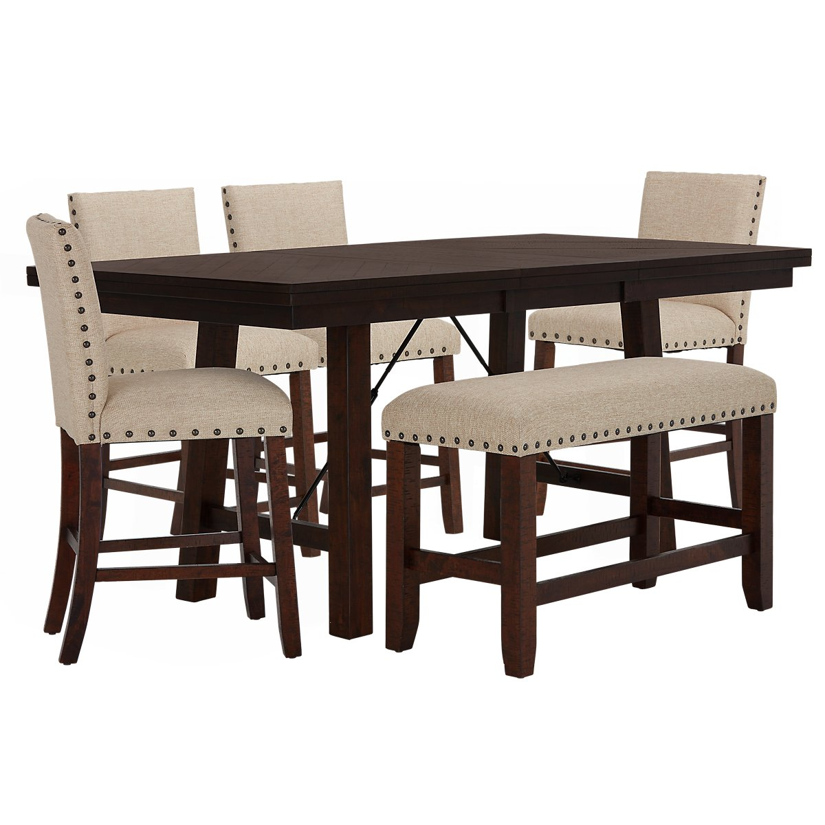 City Furniture Jax Beige High Table 4 Barstools High Bench
