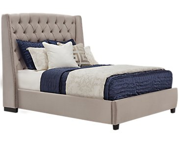Raven Gray Upholstered Platform Bed