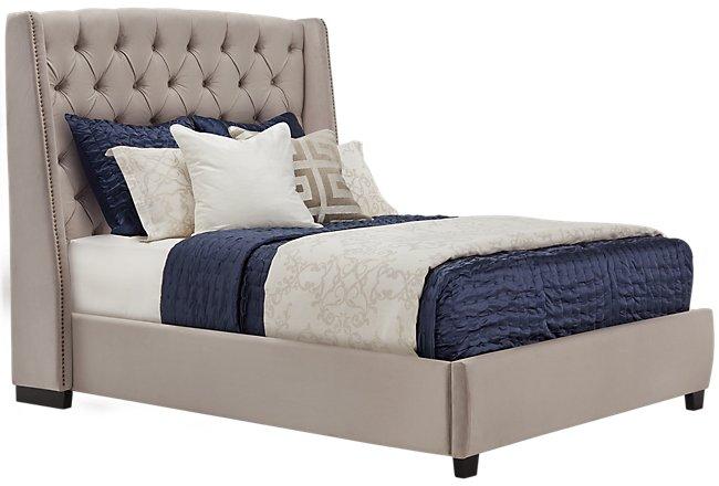 Raven Gray Upholstered Platform Bed