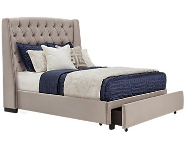 Raven Gray Upholstered Platform Storage Bed